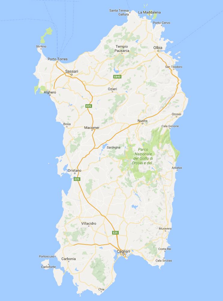 Cartina Sardegna Satellite.Mappa Della Sardegna Dal Satellite Sardegna One