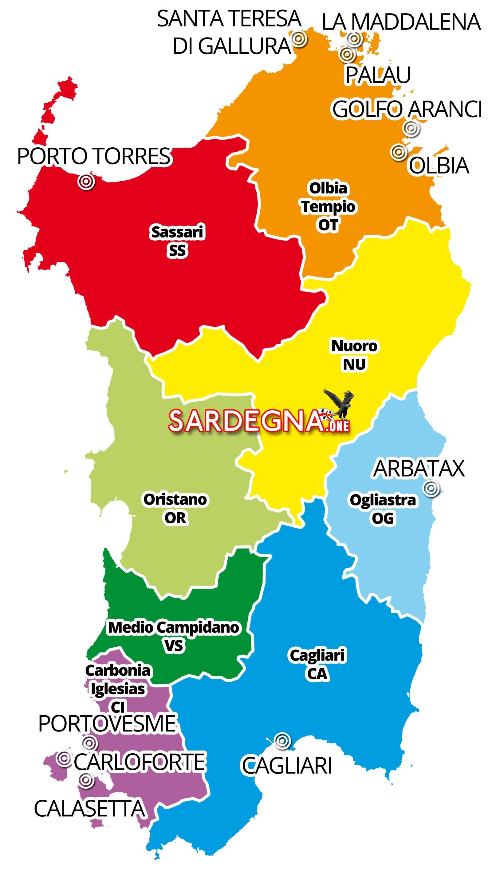 Cartina Sardegna Province.Mappa Della Sardegna Dal Satellite Sardegna One